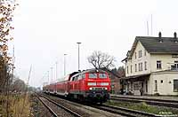 In Laupheim West hat die 218 409 den IRE4225 (Stuttgart - Lindau) am Haken. 14.11.2008